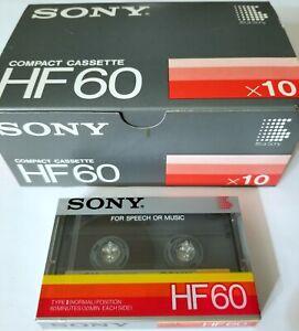 SONY 10 BLANK TAPE CASSETTE SEALED JAPAN HF60 MIN Mixtape DJ RECORDING boombox
