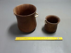 Lot of 2 Ancient Small Vases Wooden Exotic Type Glasses Old glasses