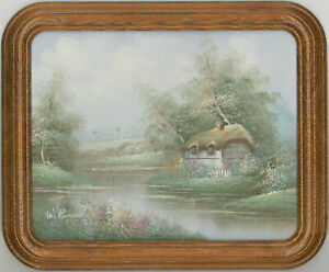 W-Reynolds-Signed-amp-Framed-Contemporary-Acrylic-River-Cottage-Scene