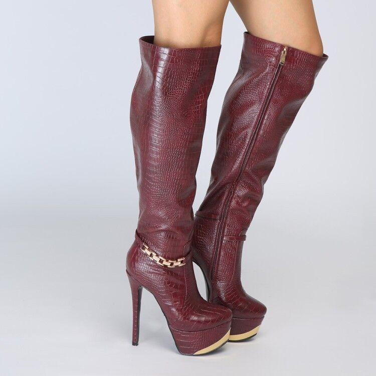 Weinrot Damen Kniehohe Stiefel 15cm Super High Heels Kette Stiefel 48 49 50 51 52