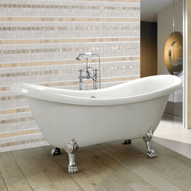 Traditional Freestanding Bath Bathroom Double Ended Slipper Roll Top Tub