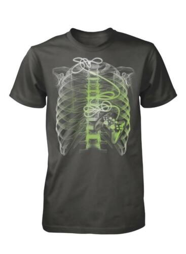 BNWT GAMER AT HEART XRAY RIBS JOY PAD HEART XBOX PS4 GAMING ADULT T SHIRT S-XXL