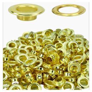 100-x-15mm-oro-ottone-occhielli-con-rondelle-per-STRISCIONI-Venditore-UK