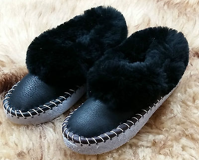 Ladies REAL SHEEPSKIN Full Slippers Boots Hand Made Hard Sole Wool 3 4 5 6 7 8