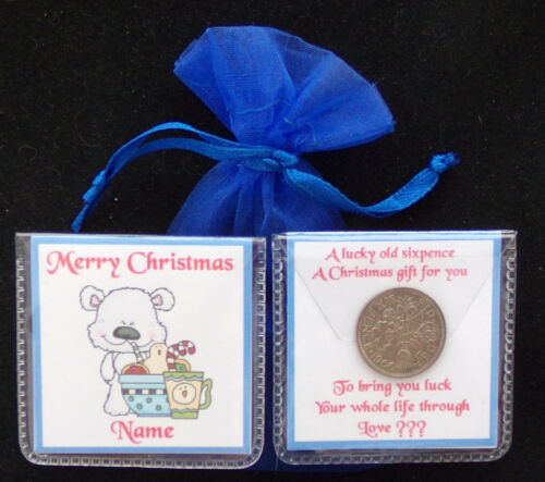 PERSONALISED CHRISTMAS LUCKY SIXPENCE STOCKING FILLER 12 DESIGNS SCRUFFY BEAR