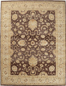 9X12 Hand-Knotted Oushak Carpet Traditional Brown Fine Wool Area Rug D55778