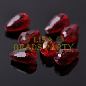 New-20pcs-16X10mm-Faceted-Teardrop-Crystal-Glass-Spacer-Loose-Beads-Deep-Red