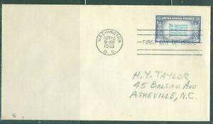 US-FDC-916 OVER RUN COUNTRIES GREECE cancel.WASHINGTON DC.OCT.12-1943 ADDR