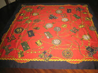 Large Scarf Featuring Antique Clocks Watches Navy Blue Gold Red Italy 33x35