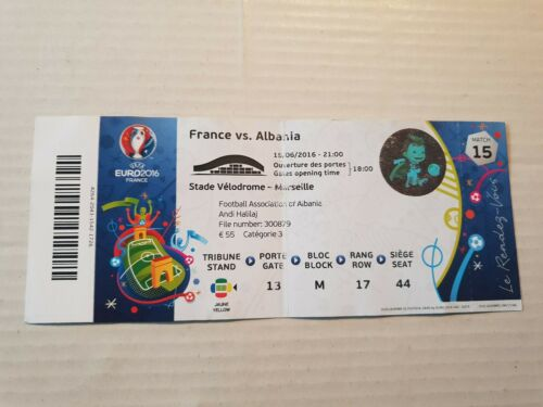 Used Sammler Ticket UEFA EURO 2016 #15 France Albania Frankreich Albanien