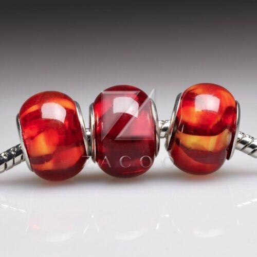 5 Cristal De Murano Espaciadoras Redondas De Murano De Grano europeo pulsera con dijes Rojo LB0058