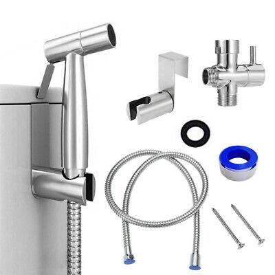 Premium Stainless Steel Bidet Sprayer Bathroom Toilet T-Adapter Hose Kit