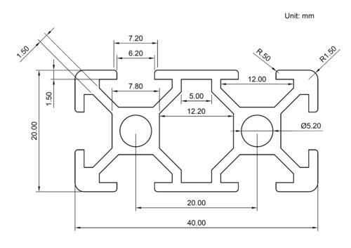300mm CNC 3D Printer Black ZYLtech 2040 20mmx40mm T-Slot Aluminum Extrusion