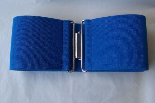 Ladies ELASTICO Cinch Fibbia Cintura Blu Vintage Vestaglia larghezza 75mm