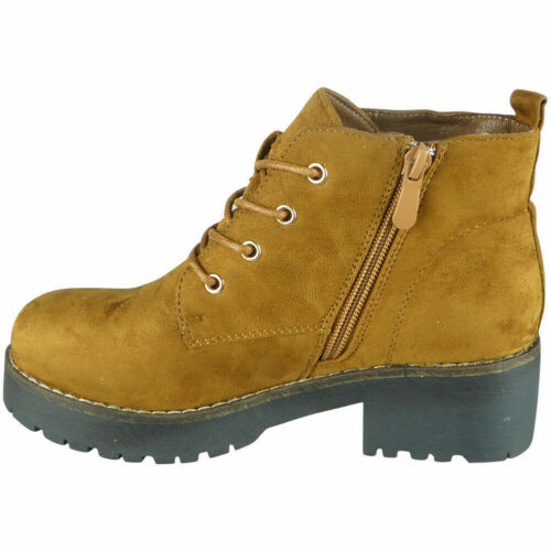 Womens Ankle Boots Ladies Lace Up Chunky Sole Faux Suede Zip Casual Shoes Size