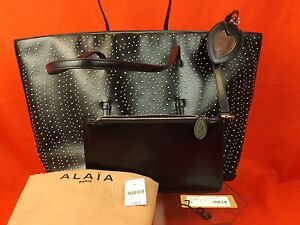Image Is Loading Nwt Alaia Arabesque Black Calf Leather Silver Circle