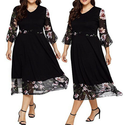 Mesh Women Dress Empire Waist Flower Loose Oversized Women Plus Size 3//4 Sleeve