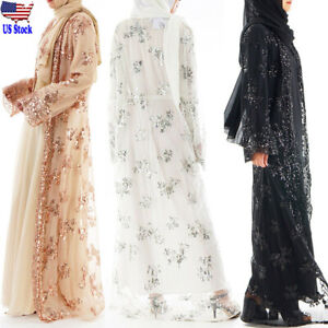 Details About Muslim Women Lace Sequin Cardigan Casual Party Long Dress Robe Coat Kaftan Dubai