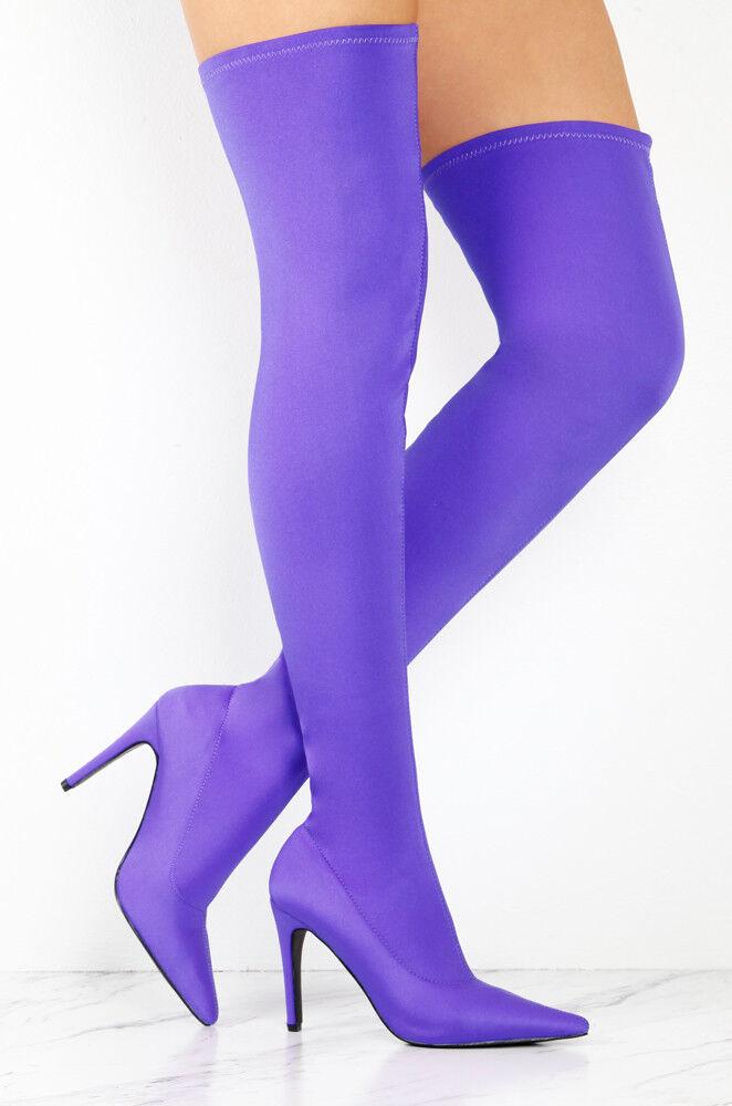 Así que me de Salón Zapatos de Taco Alto Puntera Puntera Puntera Puntiaguda púrpura Stretch Lycra Medias al muslo botas  barato en línea