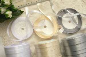 Satin-Ribbon-WHITE-amp-SILVER-10mm-amp-CREAM-14mm-wide-5-10-22-5-metres-Choice-W1