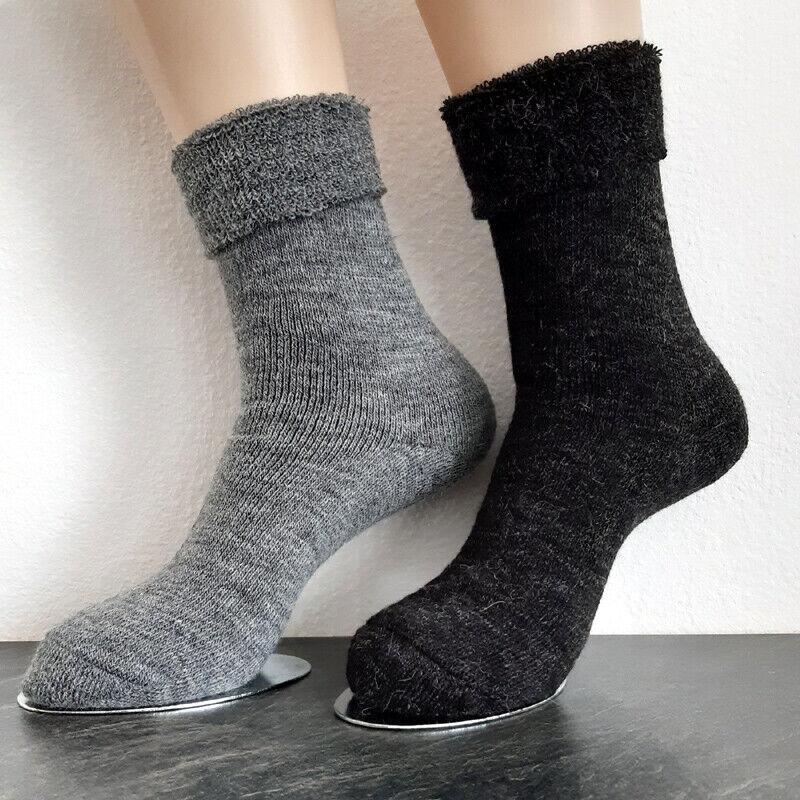 2 Paar Damen Thermo Alpaka Socken 65%Schafwolle 35% Alpakawolle Grau 35 bis 42