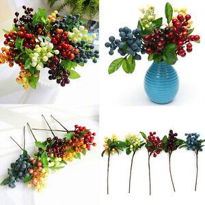 Artificial-Berry-Silk-Flower-Leaf-Bouquet-Home-Party-Wedding-Garden-Decor-LJ