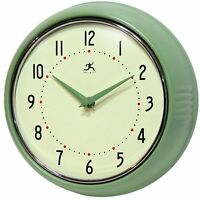 Green Retro Kitchen Wall Clock 9.5' Round Metal Quartz Movement & Battery
