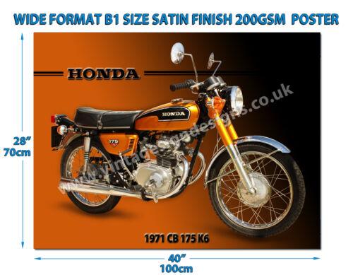 HONDA CB 175 K6 MOTORCYCLE WIDE FORMAT B1 SIZE SATIN FINISH 200GSM POSTER