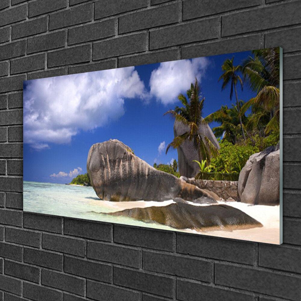 Tableau sur verre Image Impression 100x50 Paysage Roche Plage