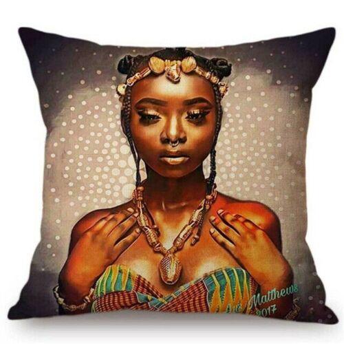 "18/"" Outdoor Decorative Throw Pillow Case Linen African Girl Women Cushion Covers"
