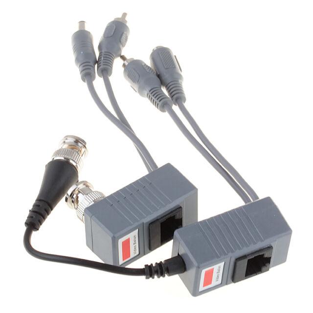 BNC Coax CCTV RJ45 Balun w/Audio Video Power Over Transceiver Cable 1 Pair EF