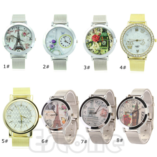 New Fashion Stainless Steel Women Mesh Quartz Wrist Watch Round Dial Quartz Gift