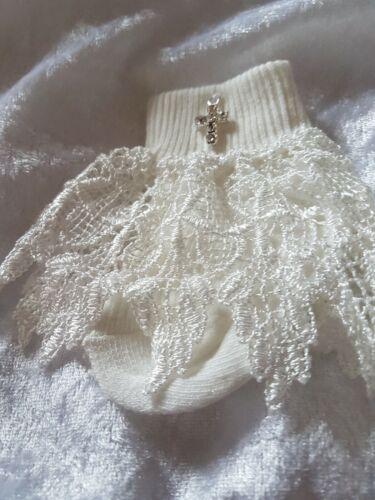 Baby Girls Guipure Lace Crystal Cross Christening//baptism Socks Ivory Romany 3//6