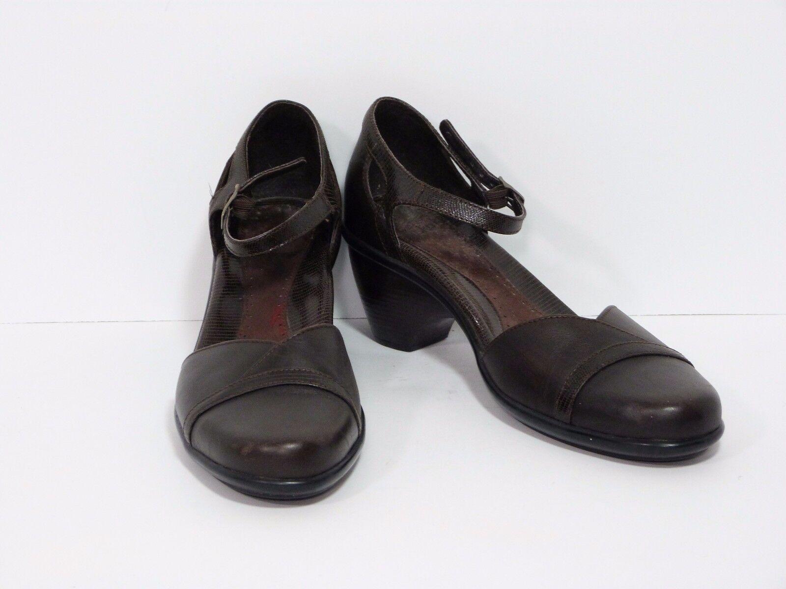 DANSKO Womens Roxy Brown Leather Heel Pump Ankle Strap Mary Jane Size 41 10.5-11