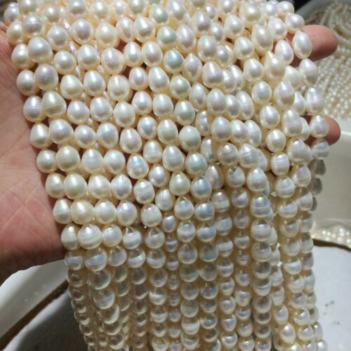 """Nature Rice Cultured Freshwater Pearl Beads Strand Stings Craft DIY Jewelry 15/"""""""