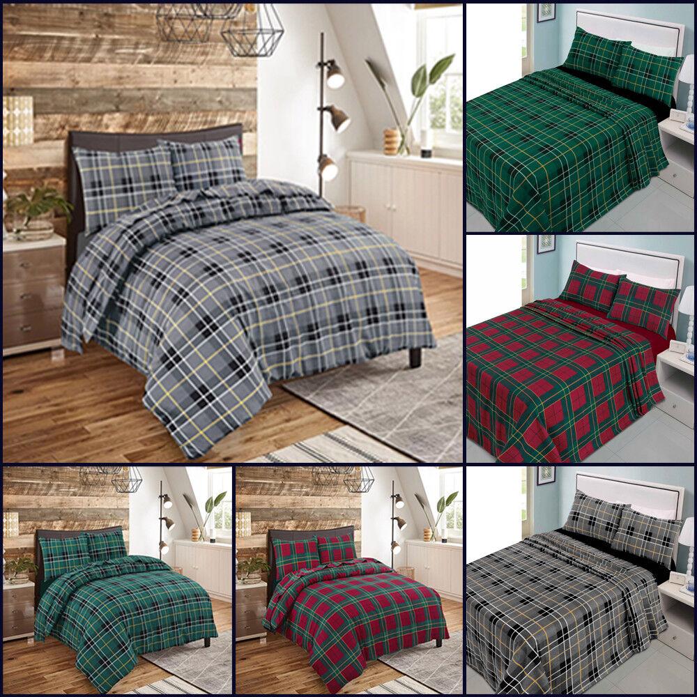 Brushed Cotton Duvet Cover Set Flannelette Bedding Sheet New Double King Size