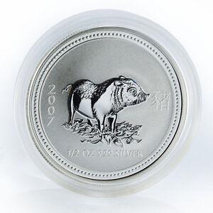 2007-Australia-50-c-Year-of-the-Pig-1-2-oz-999-Fine-Silver-Lunar-Coin-Perth-mint