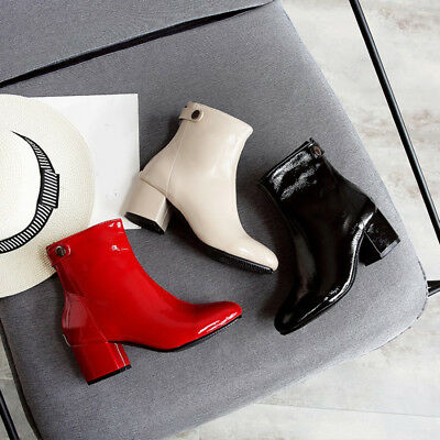 Women Patent Leather Ankle Boots Back Zipper Chunky Block Heel Boots All US  Size