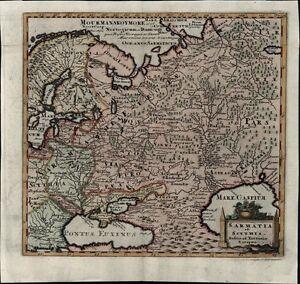 Russia Scythia 1729 decorative antique map Scandinavia Black Sea Capian Georgia