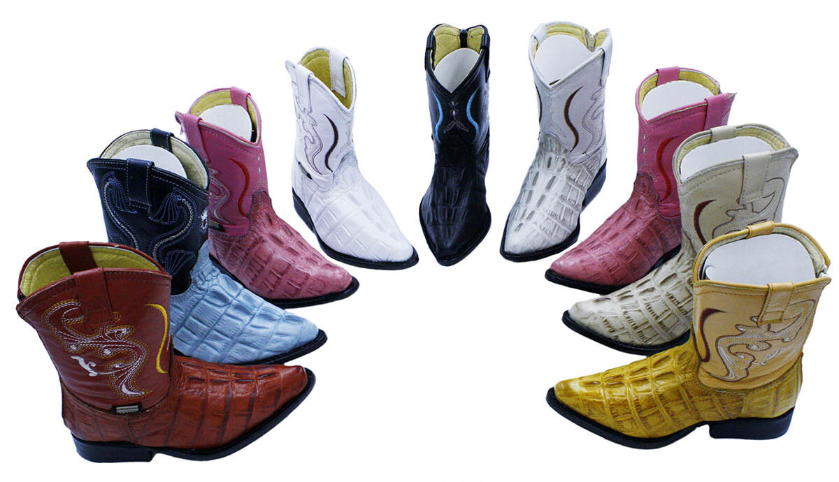 Baby Size Crocodile Print Genuine Leather Cowboy Boots Style 525 Coco 3x