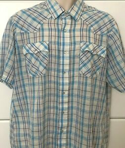 Vtg-Levis-Strauss-Mens-XL-Plaid-Pearl-Snap-Western-Wear-Button-Front-S-S-Shirt