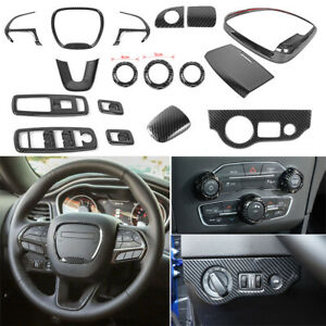 Full Kit Interior Accessories for Dodge Charger 15+ Steering Wheel Cover Console