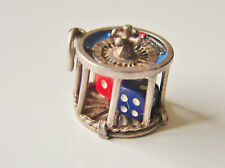 Rare Vintage 1960's  Sterling Silver Enamelled Roulette Wheel and Dice Charm