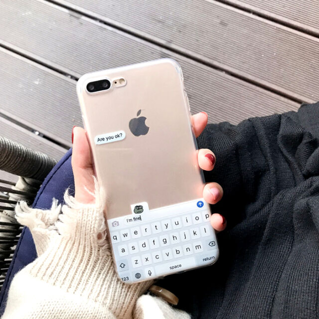 For iPhone 7 7Plus 6S 6Plus Creative Original Transparent Chat Keyboard TPU Case