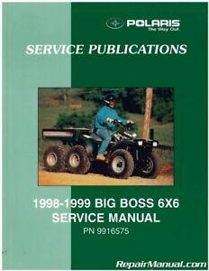 Used 1998 1999 Polaris Big Boss 500 6 6 Service Manual Ebay
