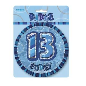 Blue-Glitz-13-Today-6-034-Giant-13th-Birthday-Badge-Party-Badges-Decorations