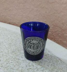 Shot-Glass-America-039-s-Main-Street-US-66-Transparent-Blue-Metal-Logo