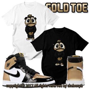 0e52b166ba61a5 CUSTOM T SHIRT Air Jordan 1 Retro High OG GOLD Toe matching TEE JD 1 ...