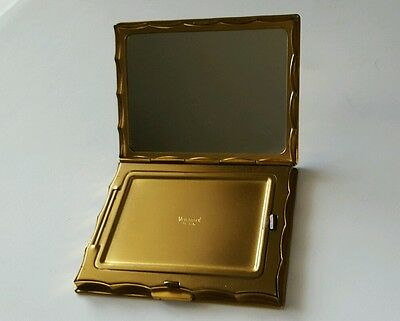 Pretty Vintage Silver and Gold Volupte Metal Compact Etched with Flowers