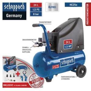 Scheppach-8bar-Druckluft-Kompressor-HC25o-Set-Spiralschlauch-Zubehoer-96-dB-A